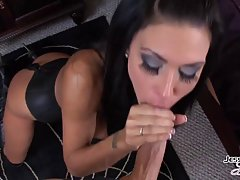 After a perfect blowjob, a nasty milf, Jessica Jaymes got a nice facial cumshot, like never before