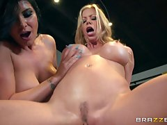 Amazing porn stars, Alexis Fawx and Romi Rain were fucking a guy who was wearing a cap
