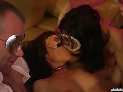 German, masked ladies are having group sex during their friend's party, and enjoying it a lot