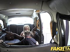Busty blonde woman is having steamy sex in the taxi with a driver she likes a lot