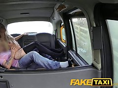 Horny blonde woman is about to get fucked hard in the back of a taxi