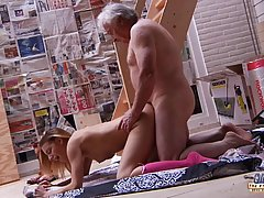 Fresh babe is fucking an elderly man who is often giving her money and expensive gifts