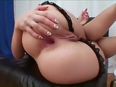 Lonely girl is shoving her rubber dildo into her wide open butt, like an animal
