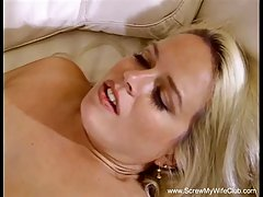 Big titted blonde woman is ready and willing to have steamy sex with two horny men