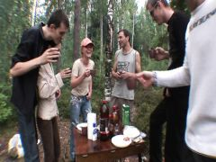 Young telka fuck on the wild nature on the occasion of birthday of the guy