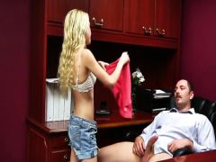 The young secretary takes in a mouth the fat member of the chief