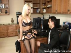 The young Italian chief fucks with the charming blonde in black stockings