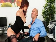 The secretary in new stockings sucks the member of the chief and has with him sex on a table in anticipation of holiday