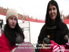 Молодой парень соблазняет чешку на секс на горнолыжном курорте