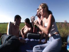 Three guys and the beautiful girl have group sex