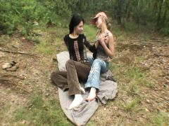 Beautiful girls have group sex with the Russian guys on country picnic