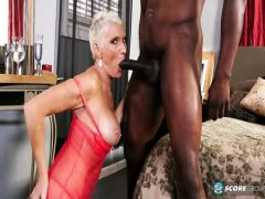 The overripe blonde drinks champagne after sex with the Black