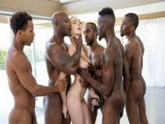 Interracial group sex of a slender blonda with black lovers on the course geng-beng