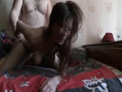 The husband fucks the half-drunk wife in front of the webcam
