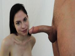 The husband fucks the young spouse in a mouth and finishes on a hand