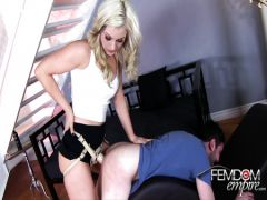 The lady lovely pushed the man a strap-on