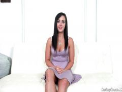 The beautiful girl acts during sex with the agent on a casting