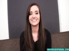 The young woman during a casting sits down on an anal