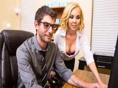 The blonde has sex with the guy at office