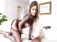 The girl in mesh baud excites the lover with a big dick on a rigid fuck with a finger in an ass