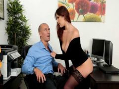 The chief fucks the secretary in new stockings on a workplace