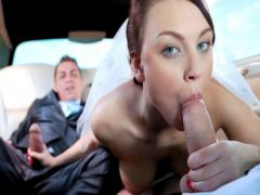 The groom with the operator in turn shpilit the bride in salon of a car