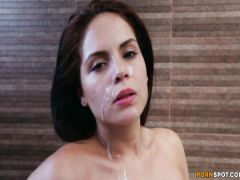 The graceful brunette laps in a jacuzzi and the excited boyfriend's member sucks