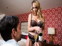 Sex of the young man with the beautiful girl blonde from an escort