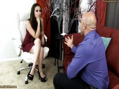 The bald friend rigidly fucks the connected brunette