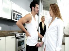 The guy rigidly tears up the girlfriend in kitchen instead of coffee