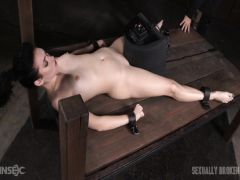 The brunette with small boobs goes bananas from an udovletvoritel and a big dick of the friend in a mouth