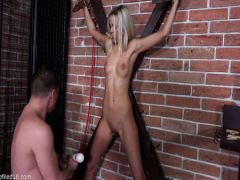 The thin blonde derives pleasure from the fan of BDSM