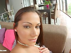 Cipriana is a seductive brunette, who also likes to masturbate with a glass dildo quite often
