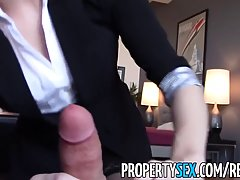 Seductive brunette is sucking her colleague's dick like a pro whore and getting fucked from the back