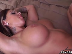 Big titted woman likes to get fucked while her lover is also squeezing her boobs