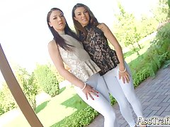 Two girls who were wearing lacy blouses are ready for a threesome and some ass fuck