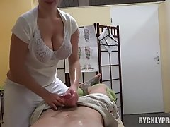 Big titted, Czech milf is using her boobs to keep her clients satisfied on a daily basis