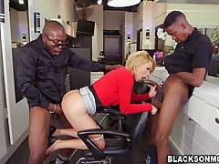 Krissy Lynn is a smoking hot blonde in red, who is satisfying two black guys