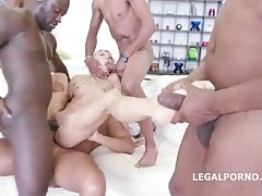Lola Shine and a group of black guys are having sex in her living room