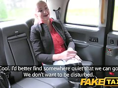 Tattooed blonde likes to suck her taxi driver's huge dick, on the back seat of his car