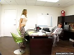 Beautiful, blonde sceretary is getting fucked from behind, instead of doing her job in the office