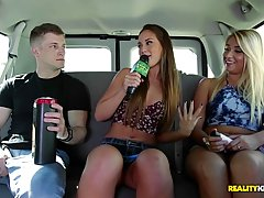 Voluptuous blonde teen and her good friend are about to masturbate in the back of a car