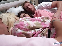 Jenna Reid and Elizabeth Jolie are fucking each others step- father, in the same huge bed