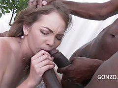 Angel Smalls is just shameless, this white babe takes two BBC in her tight anus with ease