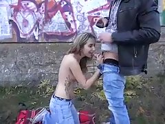 Pretty teen took off her clothes in a public place and fucked one of her lovers
