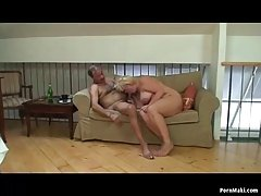 Fat blonde granny is about to have sex with her neighbor, because they are both horny
