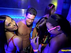 Gorgeous girls are orgying in the club, not knowing that someone is secretly recording them