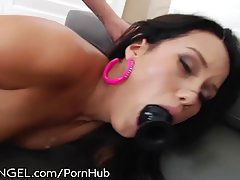 Seductive brunette, Megan Rain is sucking dick and getting it up her tight ass hole