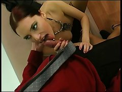 Slender brunette knows that her salary will be higher if she has casual sex adventures