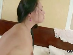 Small titted brunette is holding her legs spread wide while her boyfriend is fucking her like crazy